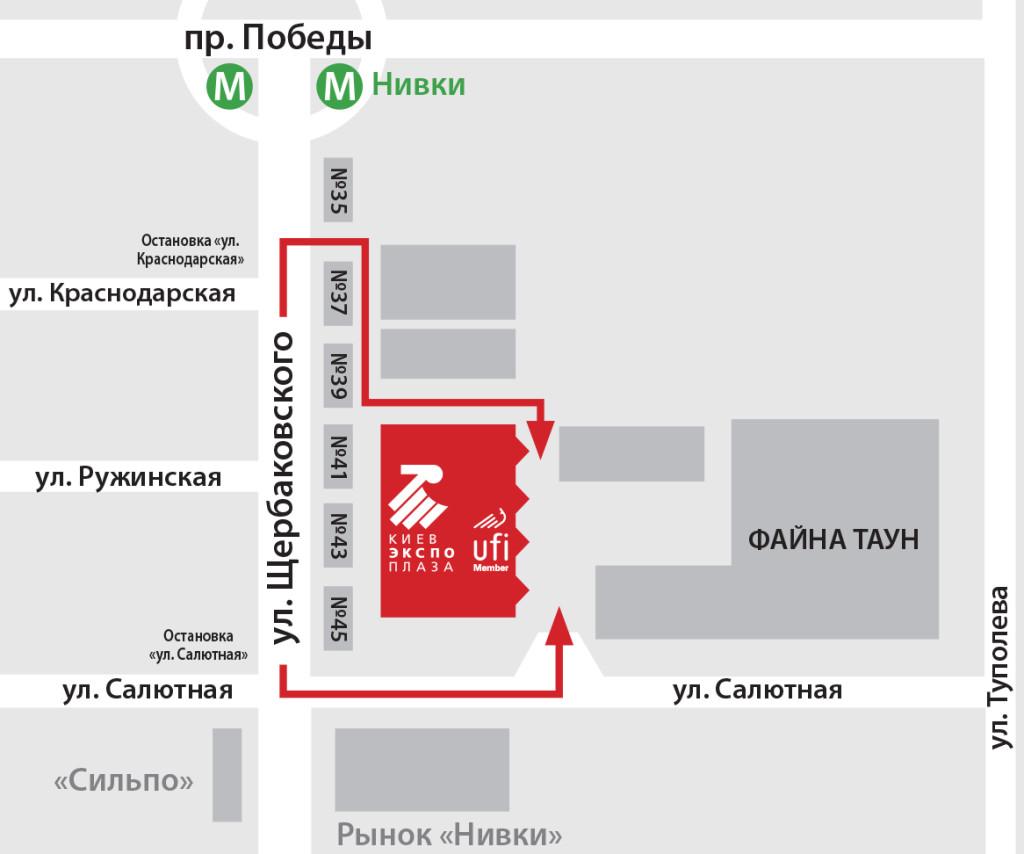Схема проезда до Международной выставки LABComplEX 2018
